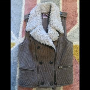 Juicy couture faux shearling quilted pattern vest